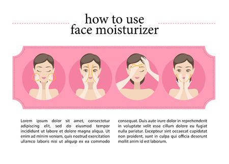 Vector flat instruction of using face moisturiser. Illustration of young girl putting on her face moisturising cream. Good for magazine article or cosmetics instruction. Illustration