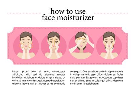 Vector flache Anweisung von Gesicht Feuchtigkeitscreme. Illustration von jungen Mädchen, das auf ihrem Gesicht Feuchtigkeitscreme. Gut für Zeitschriftenartikel oder Kosmetik Anweisung.
