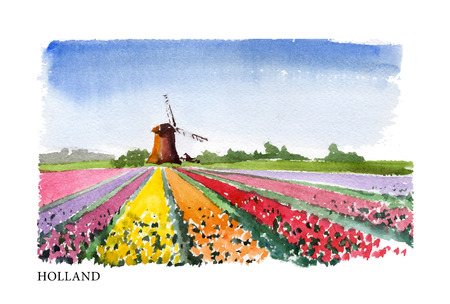sightseeings: Vector watercolor illustration of Holland sightseeings with text place. Good for warm memory postcard design, any graphic design or book illustration.