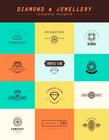 jewellery: Vector collection of jewellery and diamond logos. Flat crystal company insgnia template. Vintage logo design.