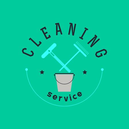 회사 청소 벡터 평면 로고 디자인. 서비스 휘장을 지우기. 업계 아이콘 및 기호를 청소합니다. 일러스트