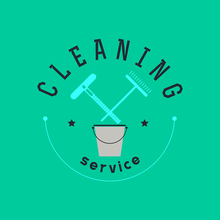 whisk broom: Vector flat logo design for cleaning company. Clearing service insignia. Cleaning industry icons and symbols.