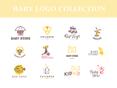 child and dog: Vector collection of baby logo. Kids fashion label design. Children clothes brand. Baby and kid store insignia template. Illustration