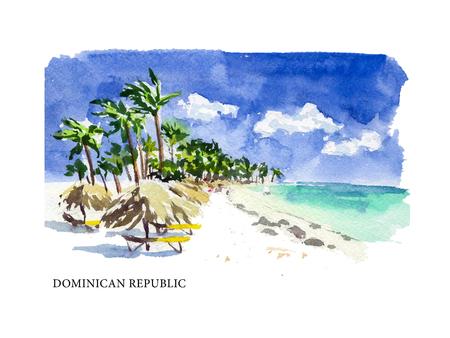 텍스트 장소 벡터 수채화 도미니카 공화국 관광지로의 그림과 해안. 따뜻한 메모리 엽서 디자인, 어떤 그래픽 디자인이나 책 그림에 적합합니다. 일러스트