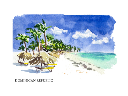 Vector watercolor illustration of Dominican Republic sightseeings and seacoast with text place. Good for warm memory postcard design, any graphic design or book illustration.