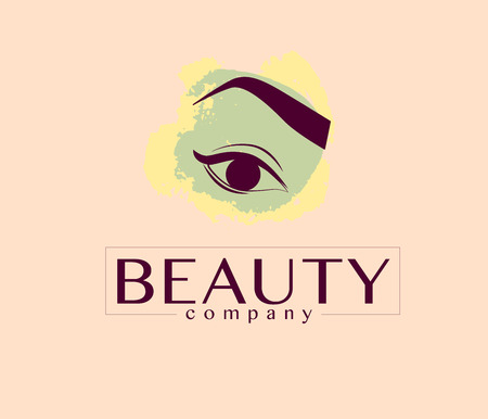 eyebrow: Vector flat beauty company logo design. Cosmetics label or brand insignia template isolated on light background. Eyebrow make up.