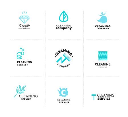 Vector verzameling van platte logo voor schoonmaakbedrijf. Clearing dienst insigne. Reinigen industrie vlakke pictogrammen.