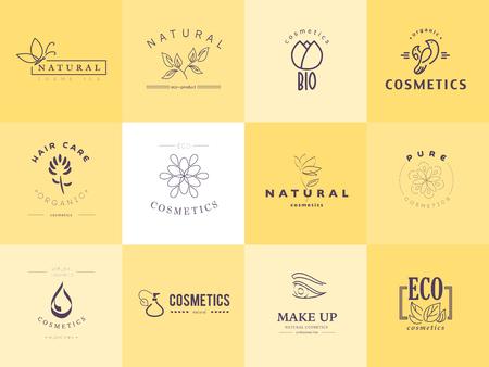 Raccolta vettore di cosmesi logo modelli di identità. L'etichetta del prodotto naturale ed ecologico. Prodotti cosmetici biologici e assistenza sanitaria insegne. Archivio Fotografico - 50956341