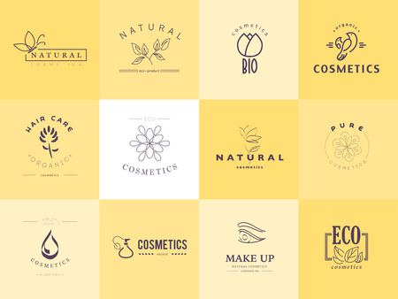 Vector collection of cosmetics logo identity templates. Natural and eco product label. Organic cosmetics and health care insignia. Ilustração