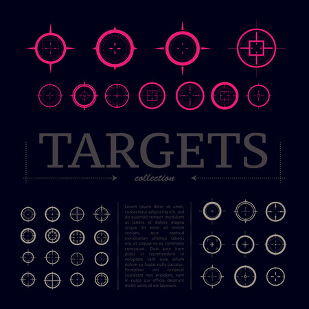 gun sight: Collection of vector targets. Different crosshair icons. Aims templates. Shooting marks design. Illustration