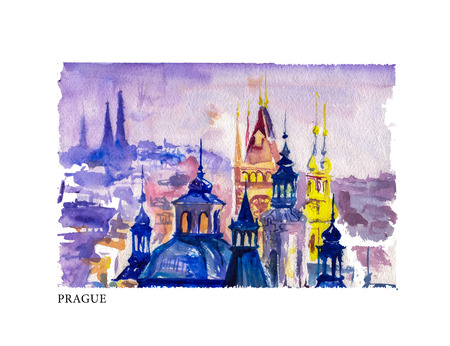 Watercolor vector illustration of old Prague city view with ancient buildings and text space. Good for memory postcar, any graphic design or book illustration. Ilustração