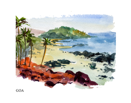 Vector watercolor illustration of Goa sightseeings and seacoast with text place. Good for warm memory postcard design, any graphic design or book illustration.
