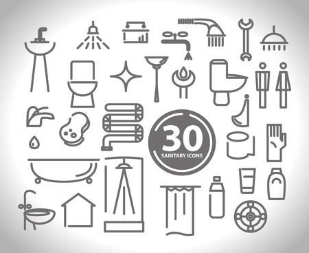 hygienic: Vector flat simple plumbing and sanitary icon collection. Hygienic and bathroom symbols.