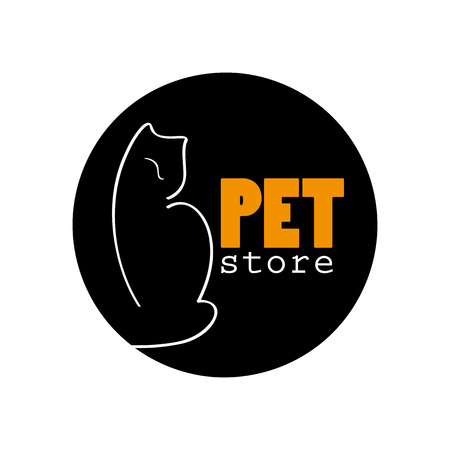 shelter: Vector pet logo design with hand drawn cat on white background. Good for pet shop or cat shelter.