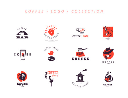 coffee company: Vector collection of flat and hand drawn coffee logo. Beautiful coffee brand template. Good for coffee and tea store, shop, also cafe and restaurant. Illustration
