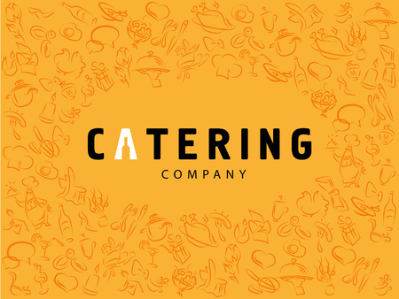 Vector template of catering company logo. Logo design collection. Catering, outdoor events and restaurant service insignia, food icons. Hand drawn elements.