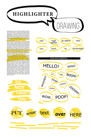 Vector set of hand drawn doodle elements. Text bubbles and balloons, frames and arrows isolated on light backdrop. Colorful paint drops. Elements for comic art design..