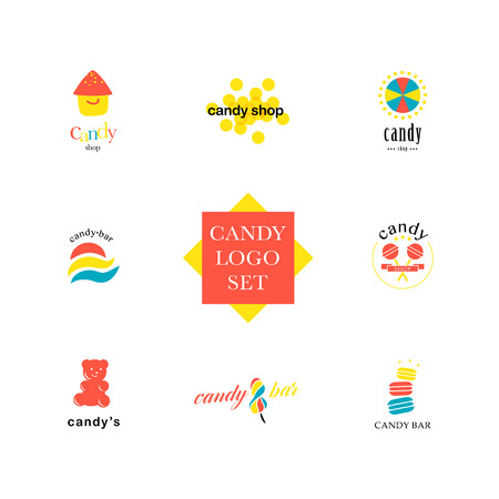 candy shop: Vector flat logo collection for candy shop and sweet store. Candy bar brand mark design. Also good for children print template.