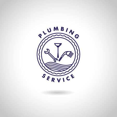 Vector flat logo design for plumbing service company. Sanitary icon.