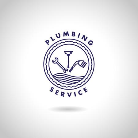 Vector flat logo ontwerp voor sanitair service bedrijf. Sanitaire icoon. Stock Illustratie