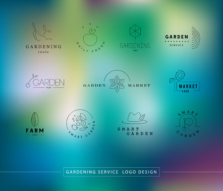 market gardening: Collection of vector flat elegant logo template for gardening companies. Gardening service brand mark graphic sample.