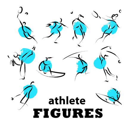 surf team: Vector hand drawn athletes. Sportsman sketches. Ink drawing. Good for advertising, print design, magazine illustration. Illustration