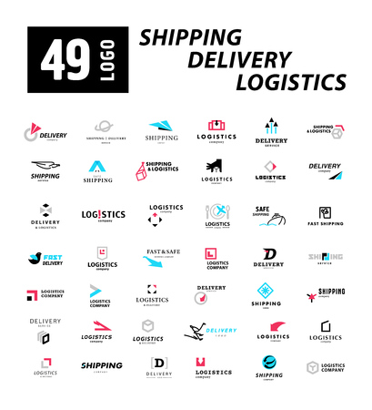 Vector flat logo template for logistics and delivery company. Shipping service insignia design. Logo collection.