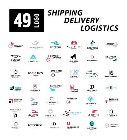 Vector flat logo sjabloon voor logistiek en levering bedrijf. Verzendservice insigne design. Logo collectie.