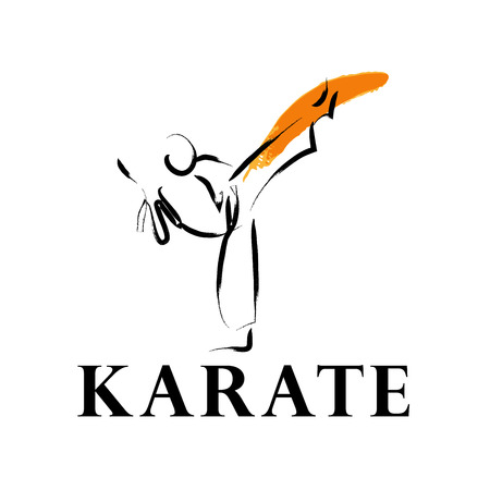Vector hand drawn karate athlete. Sportsman sketches. Ink drawing. Good for advertising, print design, magazine illustration.