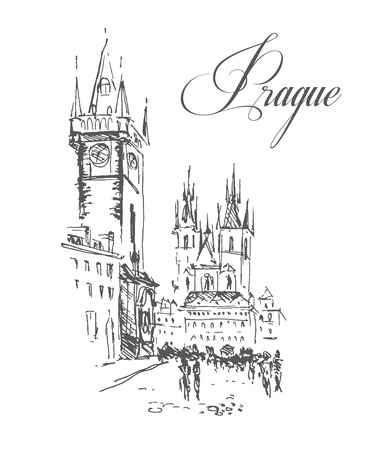 townscape: Vector hand drawn city sketches. Prague architecture. Ink drawing. Ancient european buildings. Good for poster, placard, advertising, any graphic design, book illustration.