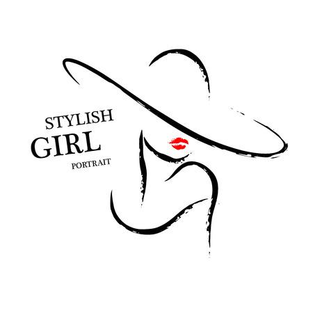 Vector Hand Porträt der jungen stilvollen Mädchen getrennt auf weißem Hintergrund gezeichnet. Gut für Magazin-Cover, Zeitschriftenartikel, Print, Packaging Design, Shop- und Store-Logo.