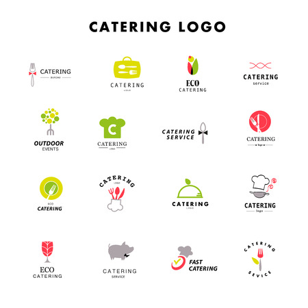 Vector template of catering company logo. Logo design collection. Catering, outdoor events and restaurant service insignia, food icons. Ilustracja