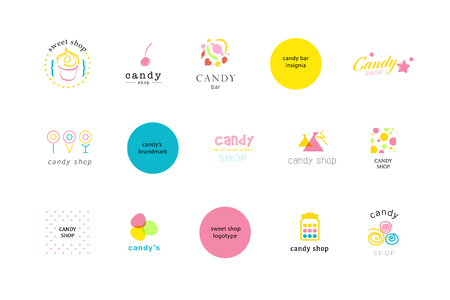 waffle: Vector flat logo collection for candy shop and sweet store. Candy bar brand mark design. Also good for children print template.