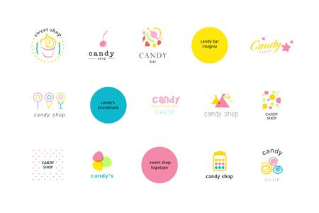 Wektor płaskim kolekcja logo dla sklepu ze słodyczami i słodkie sklepie. Candy bar znak marki projektowe. Również dobre dla dzieci szablonu wydruku.