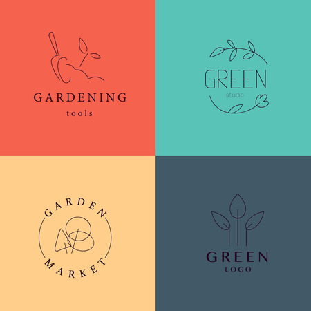 gardening equipment: Collection of vector flat elegant logo template for gardening companies. Gardening service brand mark graphic sample.