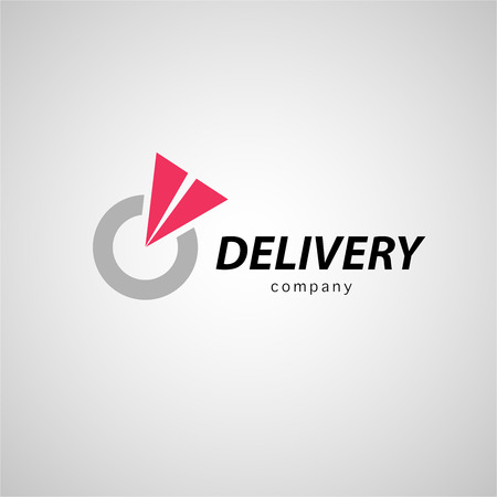 transport icon: Vector flat logo template for logistics and delivery company. Shipping service insignia design.