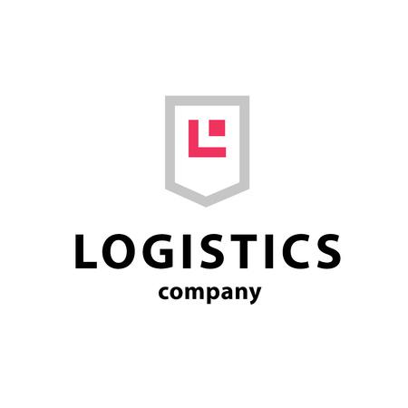 freight transportation: Vector flat logo template for logistics and delivery company. Shipping service insignia design.