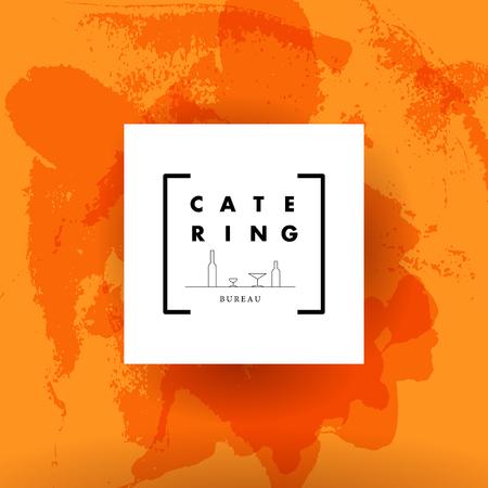 cibo: Modello di vettore di società di catering logo. Catering, eventi all'aperto e ristorante con servizio insegne, icone di cibo.