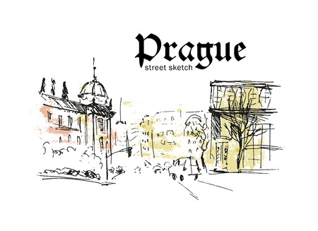 architecture drawing: Vector hand drawn city sketches. Prague architecture. Ink drawing. Ancient european buildings. Good for poster, placard, advertising, any graphic design, book illustration.