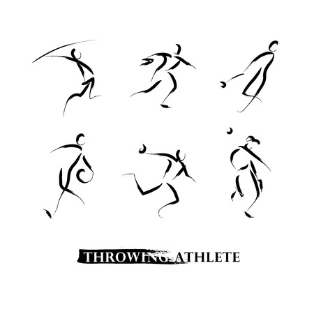 throwing: Vector hand drawn throwing athletes. Sportsman sketches. Ink drawing. Good for advertising, print design, magazine illustration. Illustration