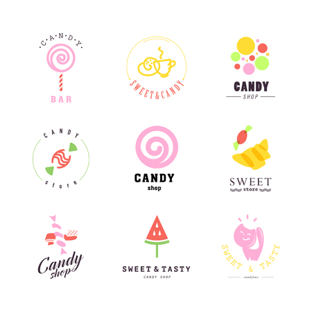 sweet good: Vector flat logo collection for candy shop and sweet store. Candy bar brand mark design. Also good for children print template.