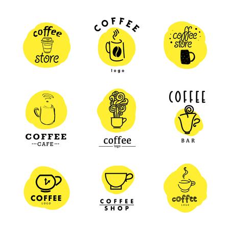 그린 평면과 손 커피 로고의 벡터 컬렉션입니다. 아름다운 커피 브랜드 템플릿입니다. 커피와 차 매장, 상점, 또한 카페와 레스토랑에 적합합니다. 일러스트