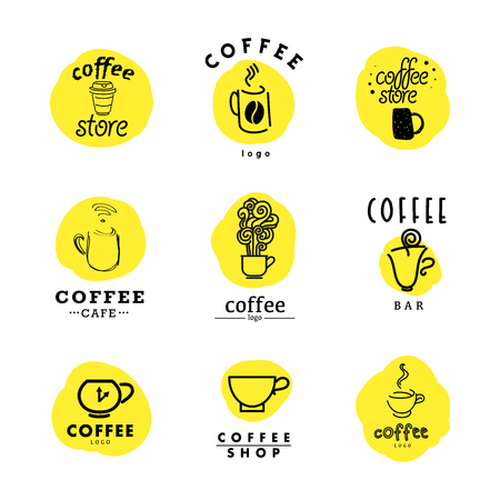 Vector collection of flat and hand drawn coffee logo. Beautiful coffee brand template. Good for coffee and tea store, shop, also cafe and restaurant. Vettoriali