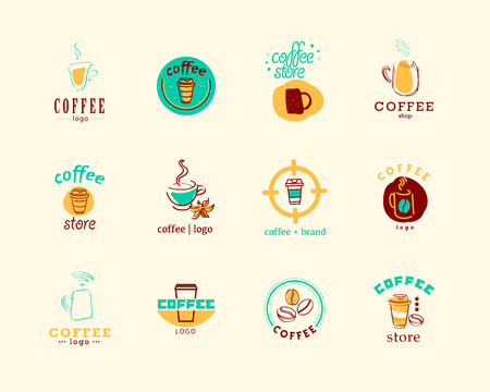 Vector collection of flat and hand drawn coffee logo. Beautiful coffee brand template. Good for coffee and tea store, shop, also cafe and restaurant. Logo