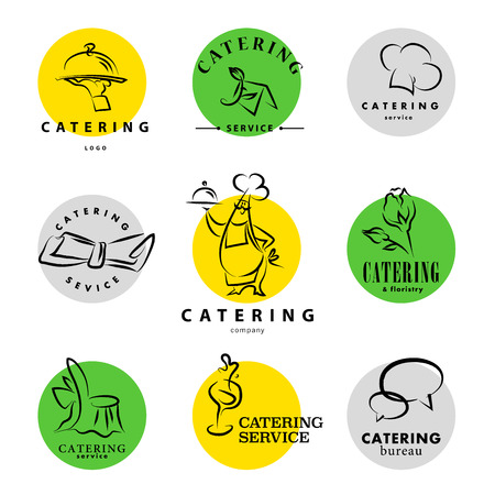 Vector template of catering company logo. Logo design collection. Catering, outdoor events and restaurant service insignia, food icons. Vectores