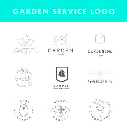 hojas de arbol: Colecci�n de plantilla de logotipo elegante plana vector para empresas de jardiner�a. Servicio de jardiner�a marca de la marca muestra gr�fica. Vectores