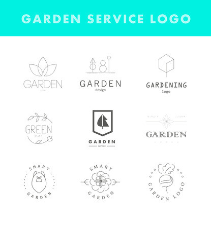 tree silhouettes: Collection of vector flat elegant logo template for gardening companies. Gardening service brand mark graphic sample.