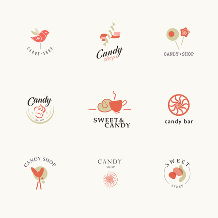 biscuits: Vector flat logo collection for candy shop and sweet store. Candy bar brand mark design. Also good for children print template.