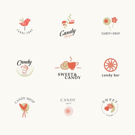 galletas: Vector recogida logotipo plana para la tienda de dulces y tienda de dulces. barra de chocolate diseño de marca de la marca. También es bueno para los niños plantilla de impresión.