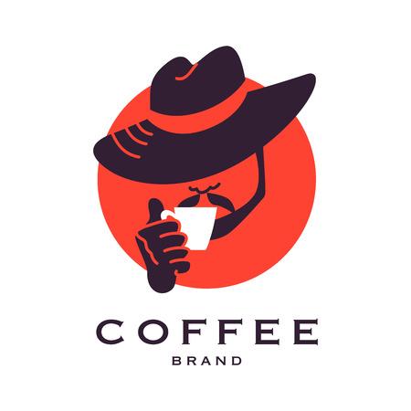 Vector de café plana muestra de logo. bella modelo marca de café. Un buen café y tienda de té, tienda, también cafetería y restaurante.